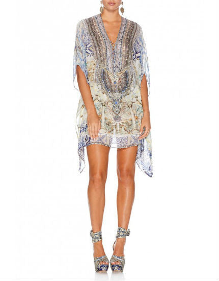 Sea Odyssey Short Lace Up Silk Kaftan