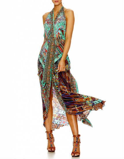Wherever You Wander Long Wrap Dress with Belt