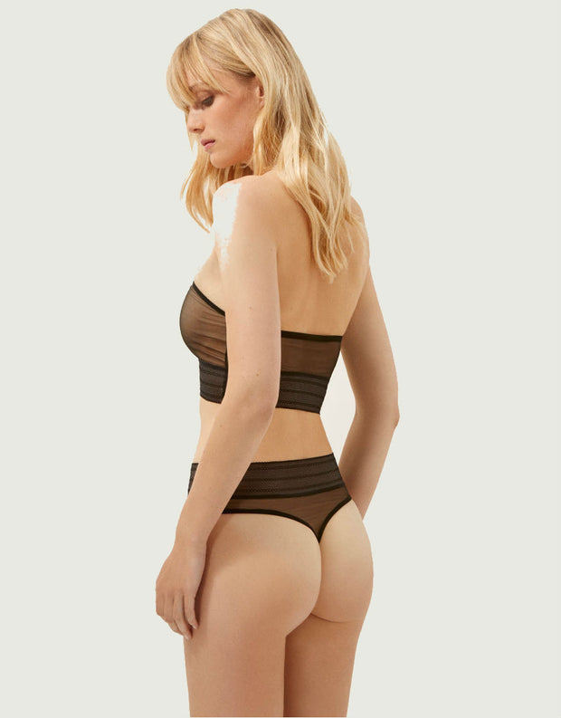 Else Bare High Waisted Thong in Black
