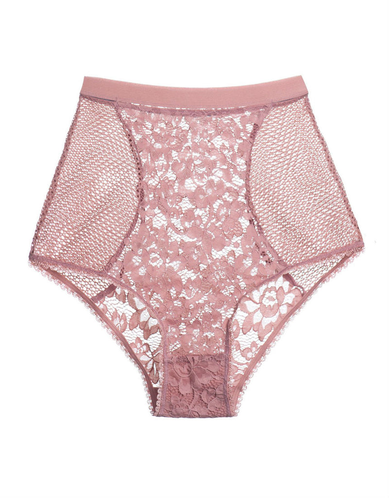 Petunia High Waist Brief in Rose