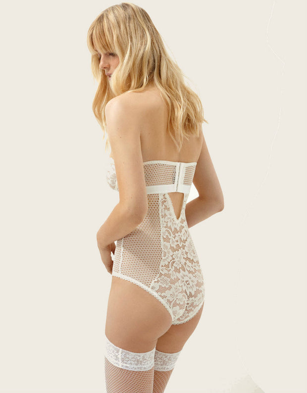Else Lingerie Petunia Strapless Underwire Corset Bodysuit in Ivory