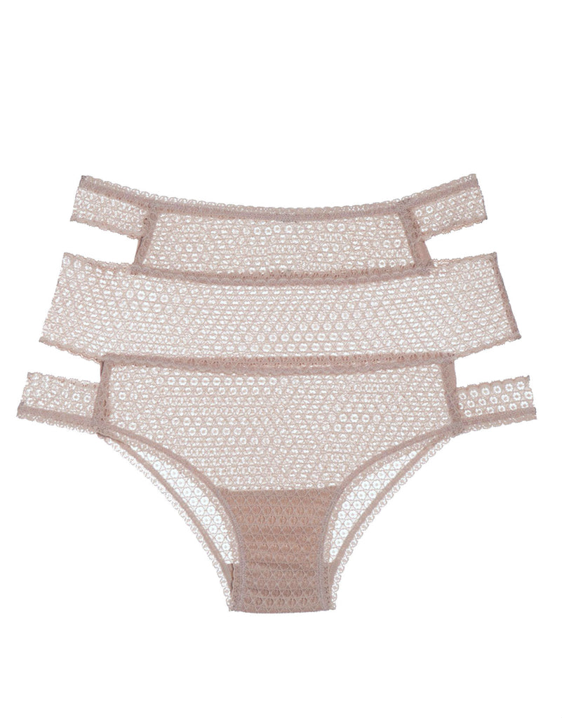 Pointelle Cut Out High Waist Brief in Chalk Pink