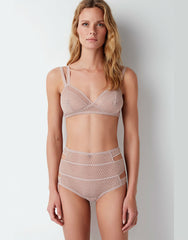 Pointelle Soft Triangle Bra in Chalk Pink