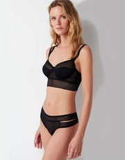 Else Pointelle Underwire Full Cup Longline Bra in Black