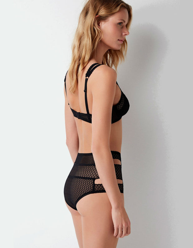 Else Pointelle Cut Out High Waist Brief in Black