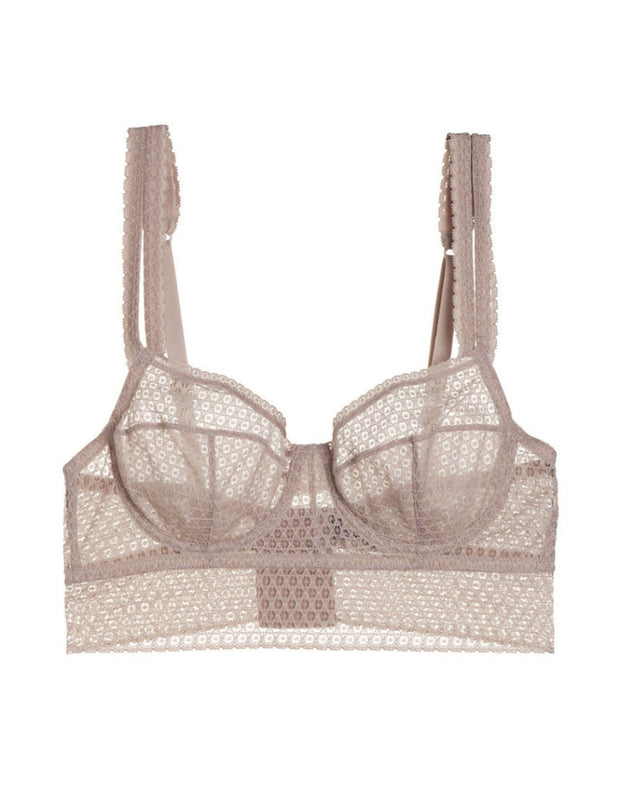 Else Pointelle Underwire Full Cup Longline Bra in Chalk Pink