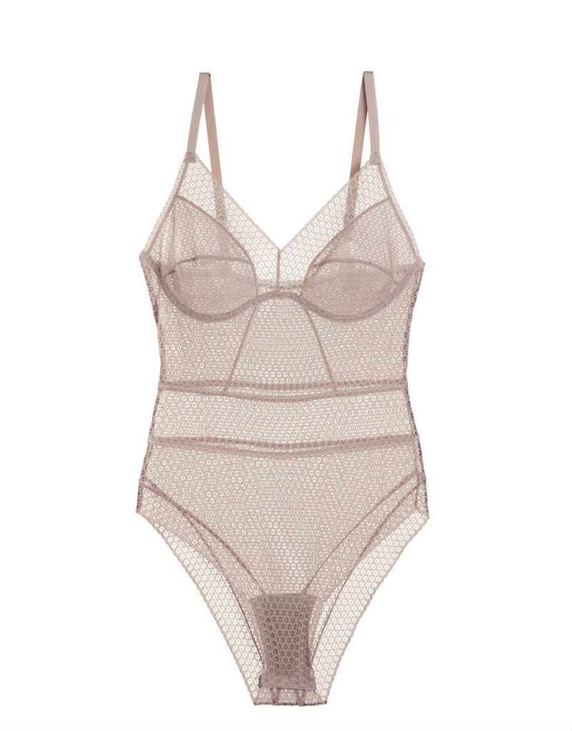 Pointelle Soft Cup Full Coverage Bodysuit in Chalk Pink