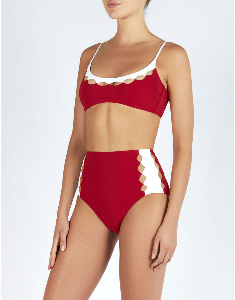 ROXANNE DIAMOND HIGH WAISTED BOTTOMS IN RED/WHITE MATTE