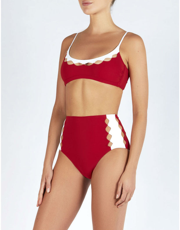 Evarae ROXANNE DIAMOND HIGH WAISTED BOTTOMS IN RED/WHITE MATTE