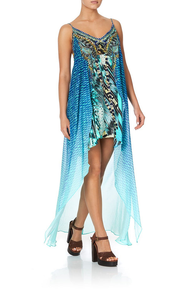 Camilla Marine Queen Flared Mini with Sheer Overlay