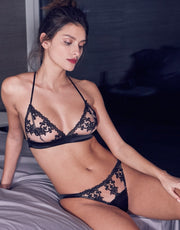 Fleur of England Onyx Embroidered Bralette