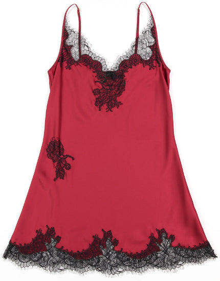 Helen Sanchez Portia Flamenco Red Silk & Lace Chemise