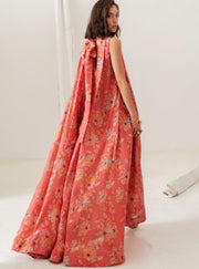 Isla & White Orange Garden La Pedrera Long Silk Floral Dress