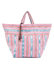 Jadetribe's samui stripe beach bag in pink
