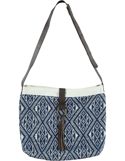 Mekong Tassel Messenger Bag in Indigo