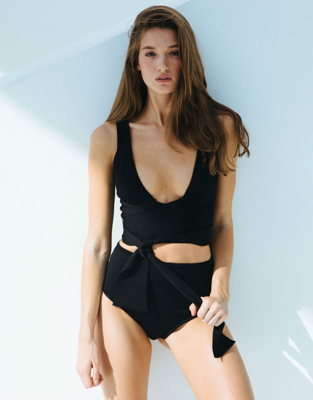 Lenny Niemeyer Black High Waist Tricot Bikini Bottom
