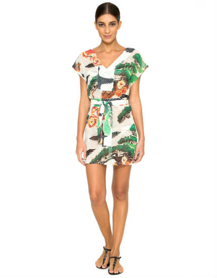 Bonsai Short Strip Dress with Tie
