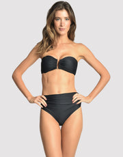 LENNY NIEMEYER High Waist Ruched Bikini Bottom in Black