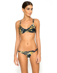 Interlace Strap European Cut Bikini Bottom in Samurai