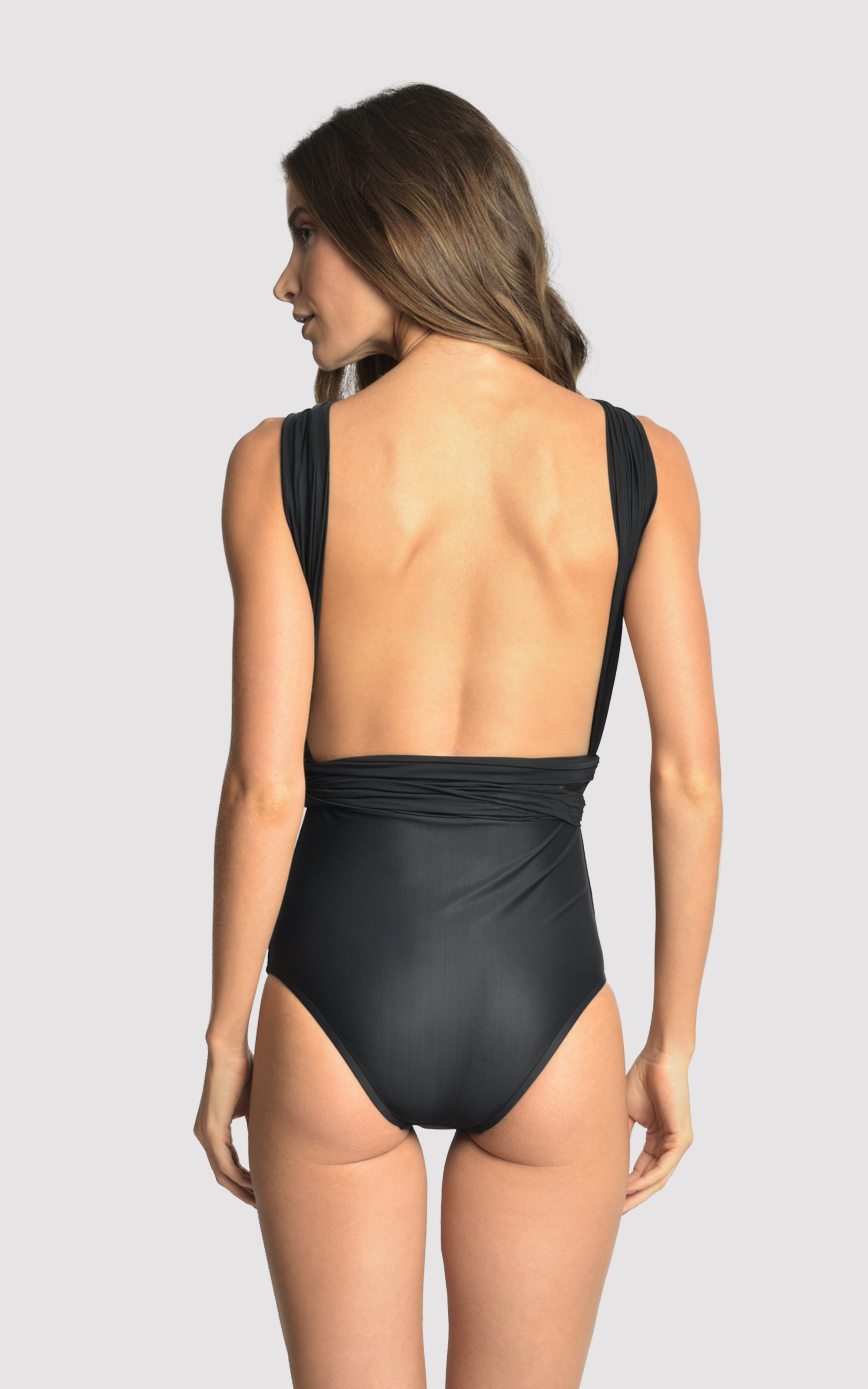 Chic Halter One Piece Swimsuit in Black