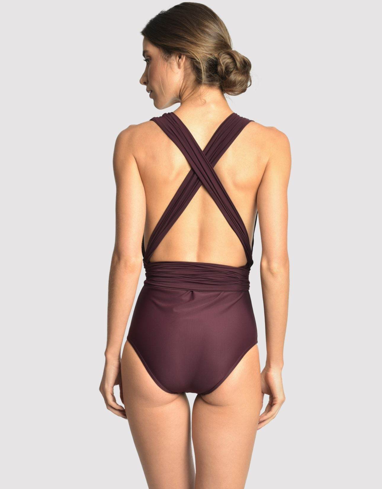 Chic Halter One Piece Swimsuit in Eggplant