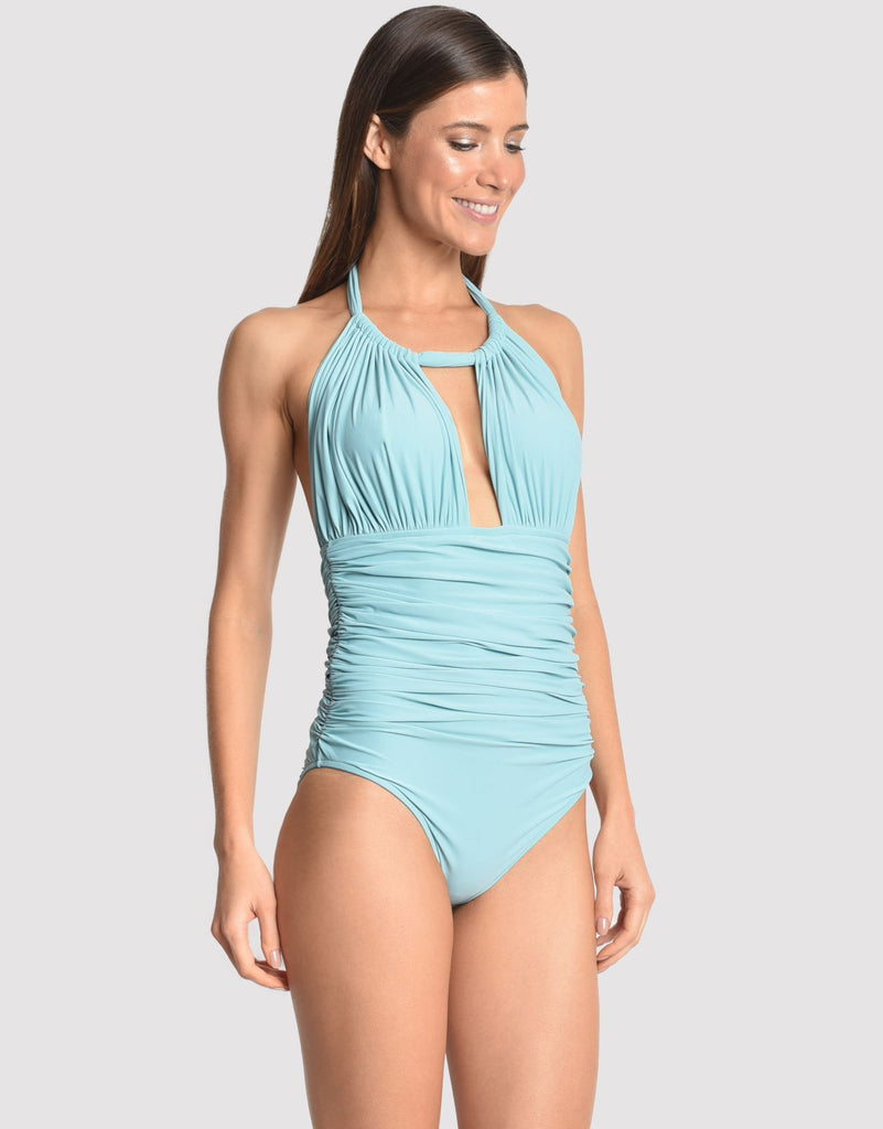 Ruched Adjustable Halter Swimsuit in Sea Water