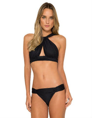Touch Neck Bikini Top in Black