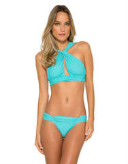 Touch Neck Bikini Top in Turquoise