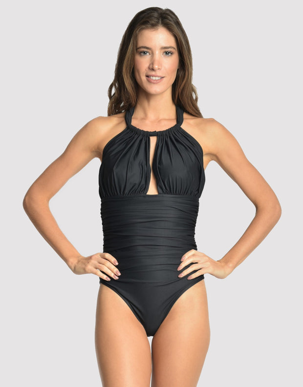 Lenny Niemeyer Ruched Adjustable Halter One Piece Swimsuit Black 241