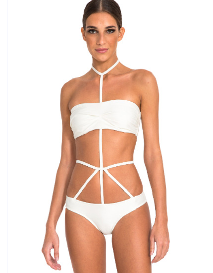 Runway Underwire Bandeau Bikini Top in Off White