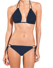 Blue Stone Touch Double String Halter Bikini Top