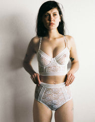 Agnes High Waist Brief in Ivory Lace