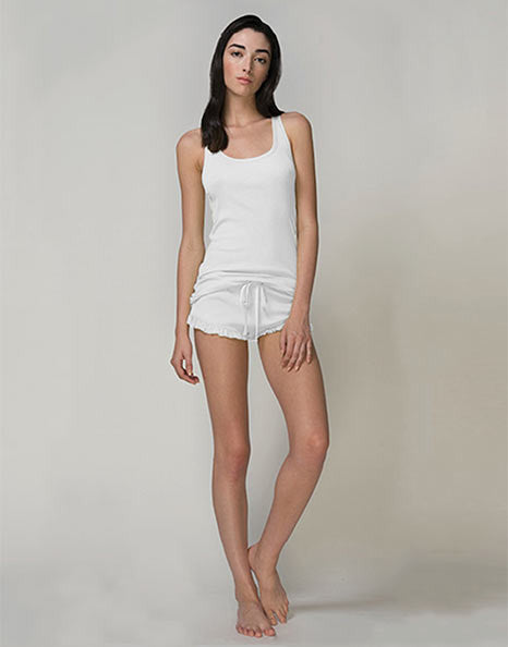 Pima Cotton Rib Tank in White or Grey