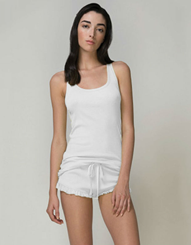 Skin Pima Cotton Rib Raffaela Short in White