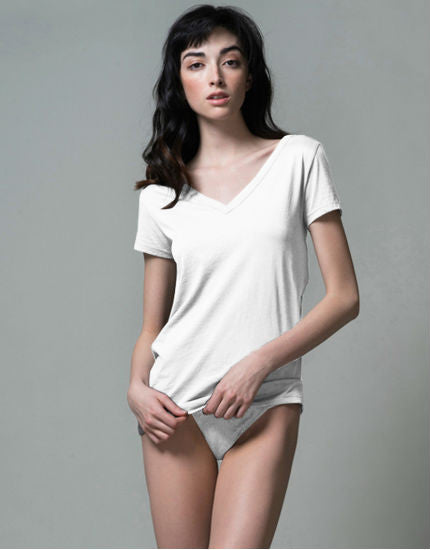 Pima Cotton V Neck Easy Tee in White