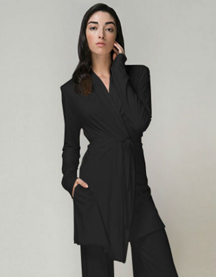 Skin Double Layer Pima Cotton Wrap Robe Black