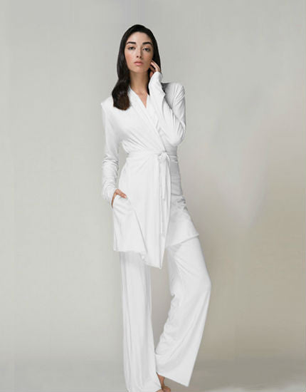 Double Layer Wrap Robe in White