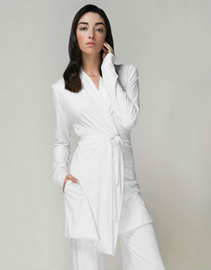 Pima Cotton Jersey Double Layer Wrap Robe in White