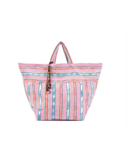 jadetribe samui pink stripe beach bag