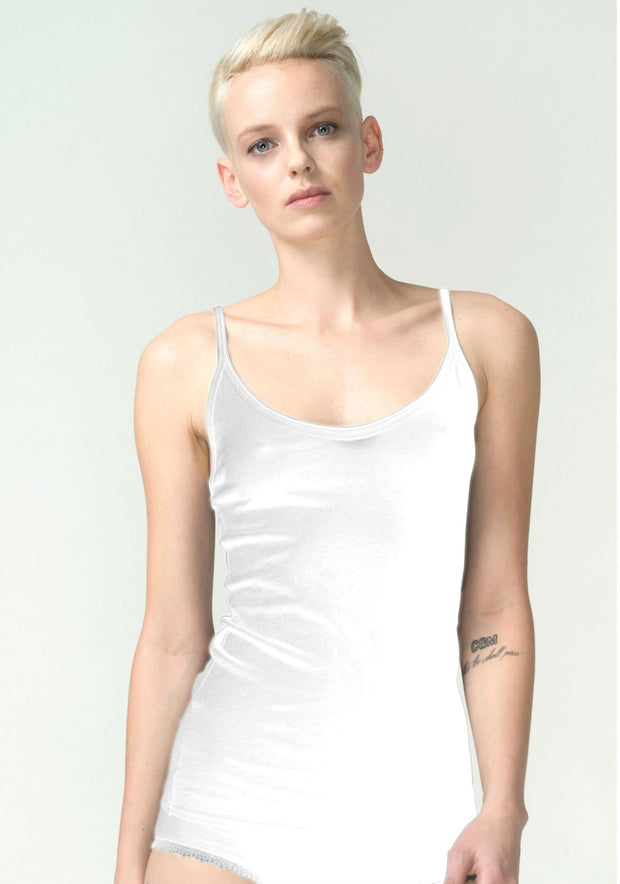 White Organic Pima Cotton Roll Edge Cami