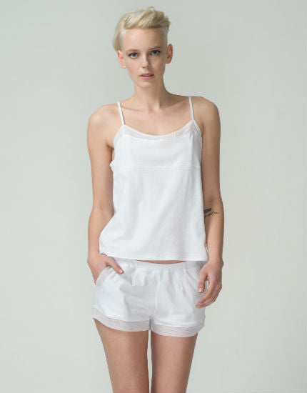 Tulle Trim Cotton Cami in White