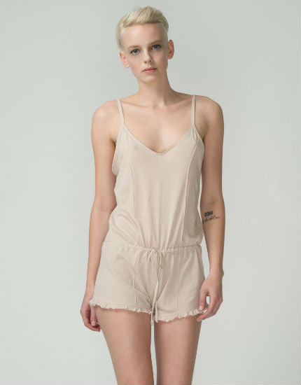Organic Pima Cotton Pintuck Romper in Nude