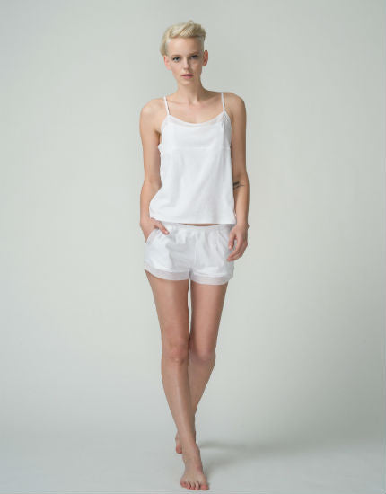 Tulle Trim Cotton Short in White