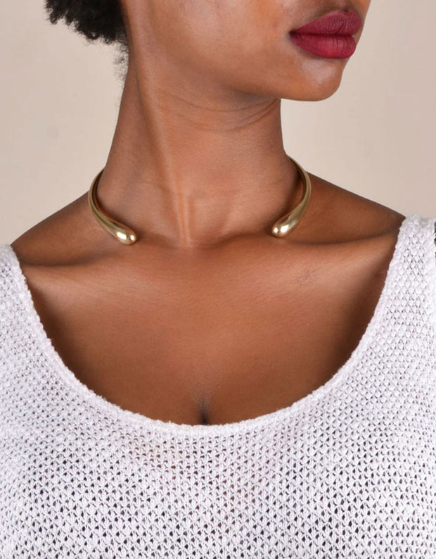 Soko Double Dash Choker in Brass