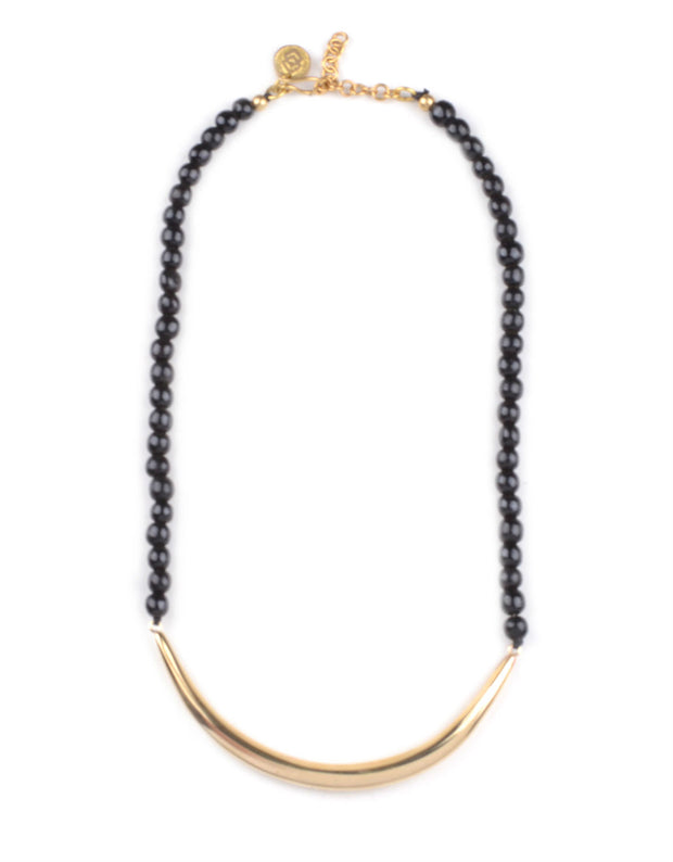 Soko Pembe Crescent Collar in Brass & Black Horn Beads