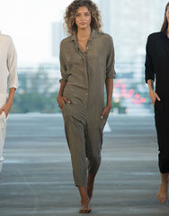 San Fran Silk Jumpsuit in Cherimoya