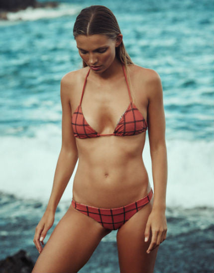 Humuhumu Stitched Triangle Bikini Top in Li Hing