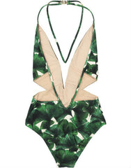 Ginkgo Halterneck Swimsuit with Tulle in Bonsai Green