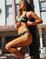 Adriana Degreas Ginkgo Long Triangle Bikini in Bonsai Green