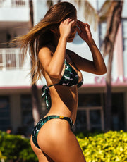 Ginkgo Long Triangle Bikini in Bonsai Green